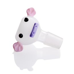 pig bowl Promo Codes - 18mm Glass Bong Bowl White Pig Face with Pink Ears Cute Smoking Accessories Cheap Glass Bowl