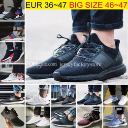 Wholesale Mens Shoes - Big Size Ultra Boost 2.0 3.0 4.0 UltraBoost mens running shoes sneakers women Sport Tri-Color NMD R2 CNY Snowflake Core Triple Black White