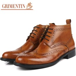 Wholesale Men Fashion Dress Boots - Big Size Brand Fashion Men Ankle Boots Genuin Leather Lace-up Wintip Carved Winter Dress Shoes Size38-46 BO75