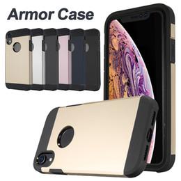 Iphone caso armatura dura online-Robusta custodia per armatura con cuscino d'aria antiurto per iPhone X XR 6 7 8 Plus Cover rigida per custodia anti-intrusione con sacchetto OPP