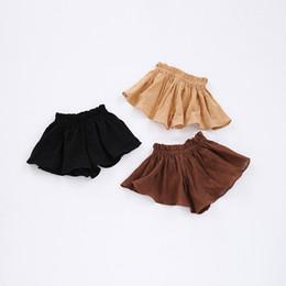 Wholesale girl japan hot style - Summer kids skirts shorts girls loose comfortable casual shorts children ruffle elastic cotton short pants girl beach hot shorts Y8086
