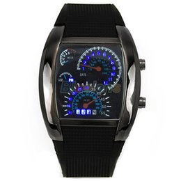 Wholesale Led Car Watch - Hot Sales HOT SALE RPM Turbo Blue Flash LED Mens Sports Car Meter Dial Watch