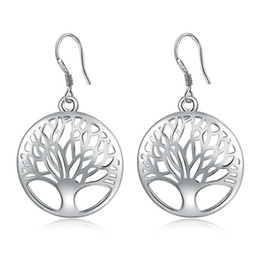Wholesale Wholesale Unique Earrings - Fashion 925 Silver living Tree Of Life drop earrings Jewelry Unique Women 925 silver jewelry Gift