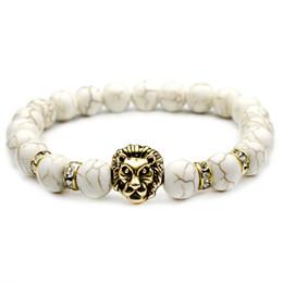 Brazaletes de cabeza de león online-Lava Rock Beads Pulseras Moda Natural White Stone Domineering Lion Head Charm Jewelry Punk Longitud ajustable Brazalete VICHOK