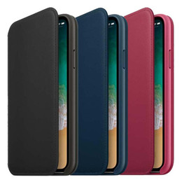 Wholesale Wallet Logos - Original Leather Folio Wallet Case with Logo for iPhone X Official Flip Smart Phone Card Cover for iPhone X 8 7 6 6S Plus