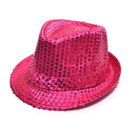 Wholesale Jazz Dresses - Flashing Light Up Led Fedora Trilby Sequin Unisex Fancy Dress Dance Party Hat LED Unisex Hip-Hop Jazz Lamp Luminous Hat