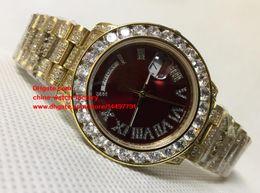 Wholesale Yellow Sapphire Bracelet - Luxury Top Quality Watch 36mm Day Date 18238 Full Diamond Bezel Dial Bracelet 18k Yellow Gold Swiss ETA 2836 Movement Automatic Mens Watches