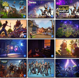 Wholesale print decals - 13 Styles Fortnite Silk Poster Fortnite Battle Game Poster Wall Painting Posters Prints on Silk Art Fortnite Wall Stickers CCA10006 100pcs