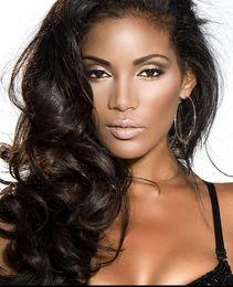 Wholesale Human Hair Extensions Clip Wave - Peruvian Virgin Hair Full Head Natural Black Bohemian Body Wave Curly Clip in Virgin Human Hair Extension