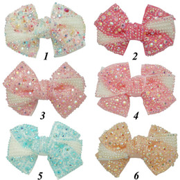Wholesale Handmade Hair Accessories Mixed - 12 Pieces Lot 4'' Rhinestone Hair Bows With Clips For Kids Girls Handmade Pearl Pinwheel Ribbon Bows Hairgrips Hair Accessories
