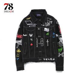 джинсовая куртка Скидка Лоскутное джинсы куртка с длинным рукавом мужская хип-хоп печатных карманные повседневные рубашки мода уличная