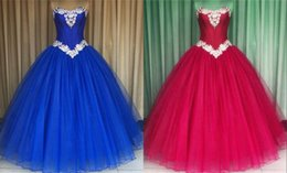 Wholesale cheap boned corsets - Stunning Royal Blue Hot Pink Quinceanera Prom Dresses Cheap Ball Gown Sweet 16 Dresses For Girls Organza Corset Back Beaded Crystals Long