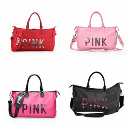 Wholesale handbag sports - Pink Letter Sequins Shoulder Bag Large Capacity Women Duffle Handbag 4 Colors Outdoor Travel Sports Beach Totes Outdoor Bags OOA5170