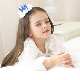 Wholesale Toddler Crown Tiara - New 2018 Princess Baby Girls Brithday Shiny Crown Barrettes Toddler Elastic Mesh Pearl Headband Hair Accessories Kids Hairband