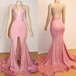 Wholesale popular training - Pink Halter Deep V-Neck Mermaid Prom Dresses Sexy Backless Sleeveless A-Line Front Split Pattern Popular Party Evening Dresses Prom Gowns