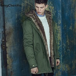 Wholesale Green Overcoat For Men - Thick Warm Down Jacket Men 2017 New Winter With Hood Padded Parkas Windproof Big Yards Fur Collar Overcoats For -50 Degrees 431