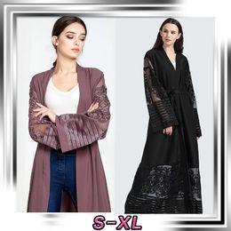 Ropa de vestir púrpura de las mujeres online-Abaya Turkish Women Clothing Vestido musulmán Islamic Jilbabs Dubai Open Encaje Abaya Black Purple Abaya Mujeres Eid wear