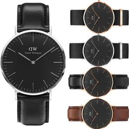 Wholesale donna brown - New Daniel New Black Dial Daniel Watches Fashion casual Women Leather Watch Luxury Brand Quartz Watch Men orologi donna Wristwatches
