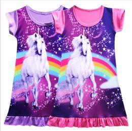 Wholesale girls summer sleepwear - Girls Kids Unicorn Sleepwear Princess Mini Dress Pajamas Nightwear Unicorn Dresses Sleepwear clothes 6 design KKA4660