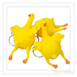 Wholesale Lay Egg - Egg Squishy Keychain Stress Relief Vent Tricky Toys DHL Squeeze Chicken Laying Egg Key Chain Funny Chicken Lay Eggs Toys Free DHL