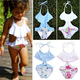 Wholesale Outlet Clothing - kids girls swimwear hot selling casual lovely red blue bathing clothing suits children swimsuits high quality cheap price factory outlet B11