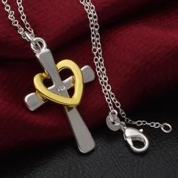 Wholesale 925 Silver Golden Cross - Silver Jewelry Pendant Fine Golden Heart Cross Pendant Necklace 925 jewelry silver plated Necklace Pendants Fashion gift necklace Top Qualit