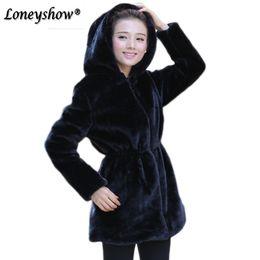 Wholesale Women Hooded Fur Coat Xxl - 2017 S - XXL Women Winter Hooded Fake Fur Coats Plus Size Vintage Artificial Black Warm Faux Fox Fur Coat With Hood Black