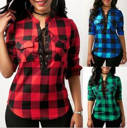 Wholesale Check Shirts - Women Plaid Bandage sweatshirts V-neck loose blouse Shirt long Sleeve pullover blouses Check Plaid Loose Long Sleeve T Shirt LJJK881