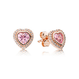 Wholesale original gold earrings - S925 Sterling Silver Pink Love Heart 18K Rose Gold plated Earring with Original box Fit Pandora Jewelry Stud Earring Women Wedding Gift