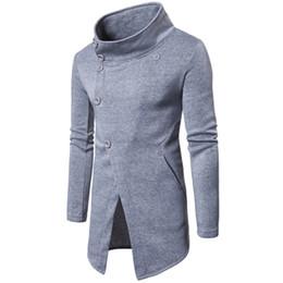 79e4f03569c button sweater men Australia - Mens Cardigan Long Overcoats Men Fashion  Slant Button Sweater Jacket Coat