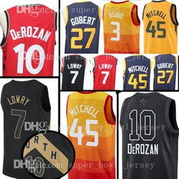 Wholesale new 27 - 2018 New 45 Donovan Mitchell 10 Demar DeRozan Jersey 7 Kyle Lowry 27 Rudy Gobert 5 DeAaron Fox 15 Kemba Walker Jerseys The City Rainbow