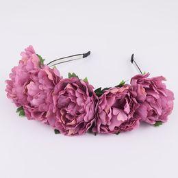 2018 микс мастер оптом CXADDITIONS Большая ткань Peony Wildflower Headband Hair Headwrap Flower Crown Bridesmaid Цветочная корона Rustic Photography Wedding