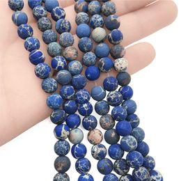 Perline aqua all'ingrosso online-8mm 10mm Matte Royal Blue Aqua Terra Jasper Beads Impression Jasper Gemstone rotondo Beads pietra semi preziosa per gioielli all'ingrosso