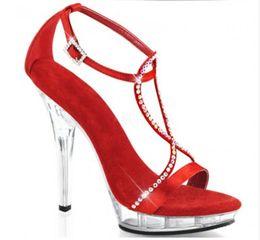 Venta al por mayor verano Sexy mujeres del dedo del pie abierto combinación de banda fina dulce cristal grueso súper sandalias de tacón alto cena zapatos rojo blanco desde fabricantes