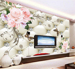 Wholesale Full House Wallpaper - European style flowers rich soft bag TV sofa background wall seamless large murals bedroom living room full of wallpaper