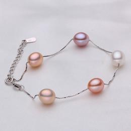 Wholesale Freshwater Lobsters - Freshwater Pearl Bracelets For Women Sweet Jewelry Bijoux 925 Sterling silver 9mm Real Pearls Bracelets & Bangles Wedding Gifts