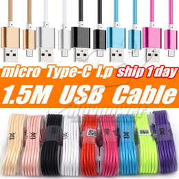 Wholesale Blackberry Data Transfer - Type-C Micro USB Cable 1.5M Nylon Data Line Charging Cable Colorful Metal Plug For Samsung Galaxy Note8 S8 S7 G5 Device Transfer