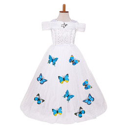 Wholesale Puff Shorts - Girls dress Cosplay Princess dresses Ball Gown Butterfly Performance Party birthday gifts Puff sleeve blue white 2018 Summer