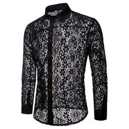 Xxl lange hülse spitze kleider online-Männer Shirts 2018 Herbst neue Mode Langarm hohe Qualität Männer Sexy Lace Mens Shirt schwarz / weiß Mens Dress Shirts S-XXL