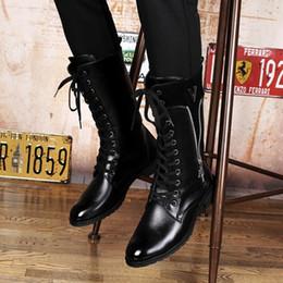botas negras de la motocicleta del mens Rebajas Venta caliente para hombre High Top Botas largas Moda cremallera cordones Knee-High Botas de la motocicleta Concise cálidos zapatos negros Hombre Hombre Chaussure Botas