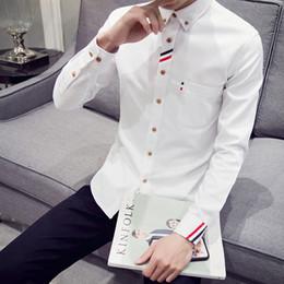 84f6c454b beige stripe mens dress shirts 2019 - DEKUSI Oxford Spinning Long Sleeve  Shirt Male chemise casual