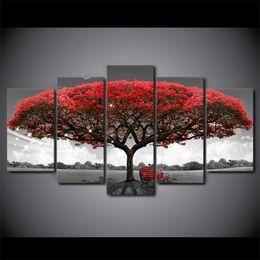 immagini murali moderne rosso nero Sconti HD stampato 5 pezzo di arte della tela in bianco e nero Rosso albero dipinto immagini a parete per soggiorno moderno trasporto libero CU-2572B