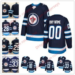 Wholesale New Jersey Jets - NEW Brand Custom Winnipeg Jets Hockey Jerseys Stitched Any Number Name Customized 2018 Navy Blue Home 26 Wheeler 29 Laine 33 Byfuglien S-60