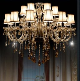 Wholesale large traditional chandelier - Free Shipping 18 Lights Traditional Luxury Large Crystal Ceiling Chandelier Lamp, Classical Glass Chandelier Light Lighting for Lobby
