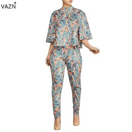 6c0425a4fa23 VAZN 2018 fashion hot 2-pieces sexy print jumpsuits ladies half sleeve  o-neck jumpsuits women hollow out skinny MTY690