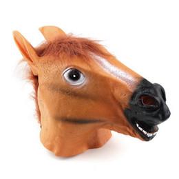 Wholesale Wholesale Halloween Latex Props - Creepy Horse Mask Head Halloween Costume Theater Prop Novelty Latex Rubber