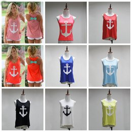 Wholesale Female Neck Ties - Maternity Tops tees Vest with Back bow Tie Ship Anchor the Navy Style the Female Tank Tops