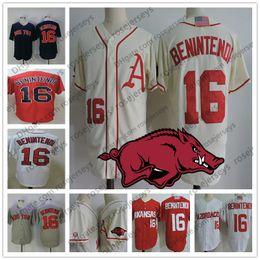 Wholesale boston grey - Arkansas Razorbacks #16 Andrew Benintendi Cream Jersey Red White Gray College Baseball Stitched NCAA Boston Navy Blue Jerseys S-3XL