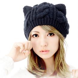 Nueva moda mujer otoño gorras oreja de gato lindo de punto Hip Hop Casual  hombres calientes invierno sombrero femenino Skullies gorros   CAP6A39 70b86ecda1a