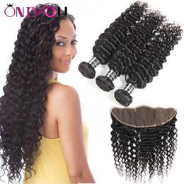 Wholesale Cheap Tape Hair Extensions - 9a Grade Peruvian Curly Virgin Hair Bundle Deals Deep Wave Bundles with Closure 13x4 Lace Frontal Bundles Cheap Remy Tape Hair Extensions